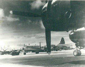 Aircraft of the 315th Bomb Wing, 16th bomb Group B-29s on the ramp