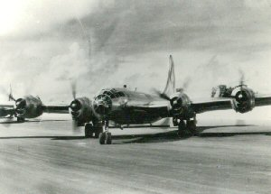 Aircraft of the 315th Bomb Wing B-29B beginning taxi out